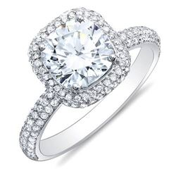 Natural 3.22 CTW Cushion Cut Halo Diamond Engagement Ring 18KT White Gold