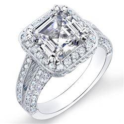 Natural 3.12 CTW Halo Split Shank Asscher Cut Diamond Engagement Ring 18KT White Gold