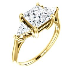Natural 2.62 CTW 3-Stone Princess Cut & Trillion Cut Diamond Ring 14KT Yellow Gold