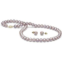 Lavender Freshwater Pearl 2-Piece Necklace and Earring Set, 7.5-8.0mm