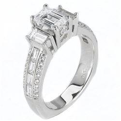 Natural 2.12 CTW Emerald Cut & Baguettes Diamond Engagement Ring 18KT White Gold