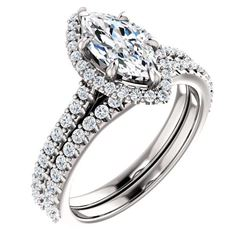 Natural 3.12 CTW Halo Marquise Cut Diamond Ring 18KT White Gold