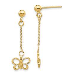 14k Yellow Gold Butterfly Dangle Post Earrings
