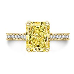 Natural 3.27 CTW Canary Yellow Radiant Cut Diamond Engagement Ring 18KT Yellow Gold