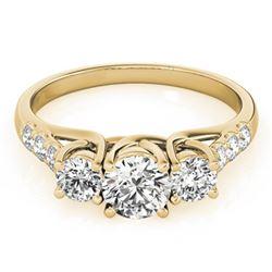 Natural 0.75 ctw Diamond 3 Stone Ring 14k Yellow Gold