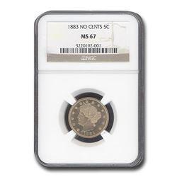 1883 Liberty Head V Nickel MS-67 NGC (No Cents)