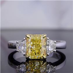 Natural 2.02 CTW Canary Yellow Radiant Cut with Half Moons 3-Stone Diamond Ring 18KT Two-tone
