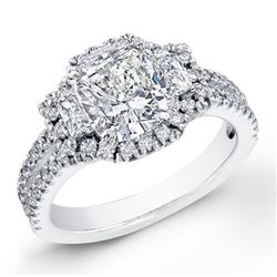 Natural 4.22 CTW Halo Cushion Cut & Trapezoids Diamond Engagement Ring 14KT White Gold
