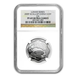 2009 China 1 oz Silver Flower Year of the Ox PF-69 NGC