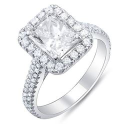 Natural 1.62 CTW Rectangle Halo Radiant Cut Diamond Engagement Ring 18KT White Gold