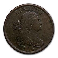 1804 Half Cent Plain 4 Stemless XF