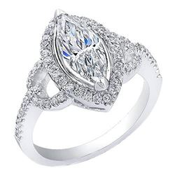 Natural 1.52 CTW Halo Marquise Cut Diamond Engagement Ring 14KT White Gold
