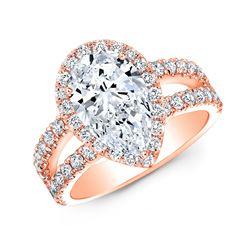 Natural 2.87 CTW Halo Pear Cut Tear Drop Split Shank Diamond Ring 14KT Rose Gold