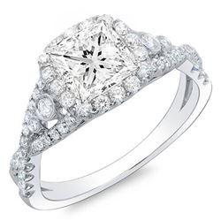 Natural 1.62 CTW Princess Cut Cross Over Shank Diamond Engagement Ring 18KT White Gold