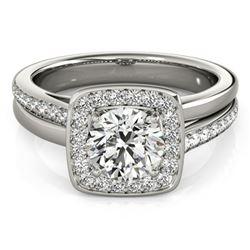 Natural 1.33 ctw Diamond Halo Ring 14k White Gold