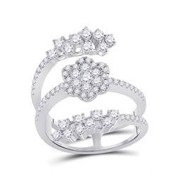 14kt White Gold Womens Round Diamond Spiral Cluster Ring 1 Cttw
