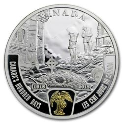2018 Canada 1 oz Ag $20 WWI Battlefront Series: Canada's 100 Days