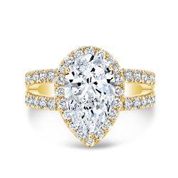 Natural 2.42 CTW Pear Cut Split Shank Diamond Engagement Ring 18KT Yellow Gold
