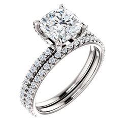 Natural 3.42 CTW Halo Cushion Cut Diamond Ring 18KT White Gold