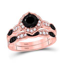 14kt Rose Gold Womens Round Black Color Enhanced Diamond Bridal Wedding Ring Band Set 2 Cttw