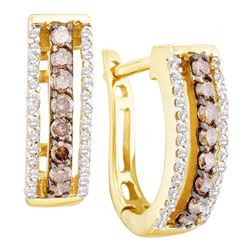 14kt Yellow Gold Womens Round Brown Diamond Hoop Earrings 1/2 Cttw