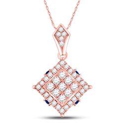 14kt Rose Gold Womens Round Diamond Blue Sapphire Square Pendant 5/8 Cttw