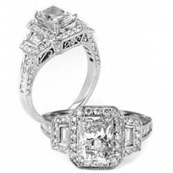 Natural 2.22 CTW Halo Radiant Cut Diamond Engagement Ring 18KT White Gold