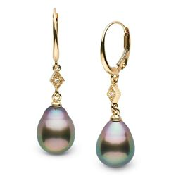 Black Tahitian Drop-Shaped Pearl and Diamond Aerie Collection Dangle Earrings