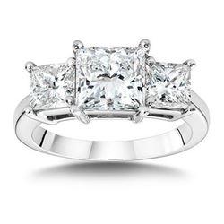 Natural 3.02 CTW Princess Cut 3-Stone Diamond Engagement Ring 18KT White Gold