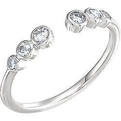 Natural 0.27 CTW Six Stone Stackable Bezel Diamond Cuff Ring 18KT White Gold
