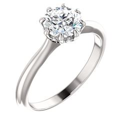 Natural 1.07 CTW Round Cut 8 Prong Diamond Engagement Ring 14KT White Gold
