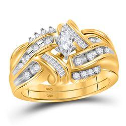 14kt Yellow Gold Marquise Diamond Bridal Wedding Ring Band Set 1/2 Cttw
