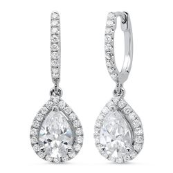 Natural 1.16 CTW Pear Dangling U-Pave Lever Back Halo Diamond Earrings 18KT White Gold