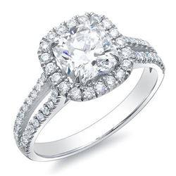 Natural 2.07 CTW Halo Cushion Cut Split Shank Diamond Ring 18KT White Gold