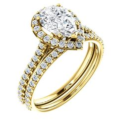Natural 2.72 CTW Halo Teardrop Pear Cut Diamond Engagement Set 14KT Yellow Gold