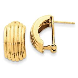 14k Solid Gold Polished Fancy Omega Back Post Earrings