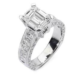 Natural 3.92 CTW Emerald Cut & Princess Diamond Engagement Ring 14KT White Gold