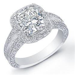 Natural 4.12 CTW Halo Split Shank Cushion Cut Diamond Engagement Ring 14KT White Gold