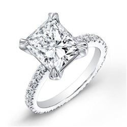 Natural 2.22 CTW Radiant Cut Diamond Solitaire Eternity Engagement Ring 18KT White Gold
