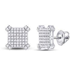 14kt White Gold Mens Round Diamond Squared Cluster Earrings 1/3 Cttw