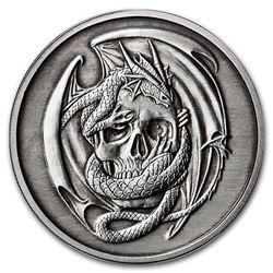 5 oz Silver Antique Round - Anne Stokes Dragons: Skull Embrace