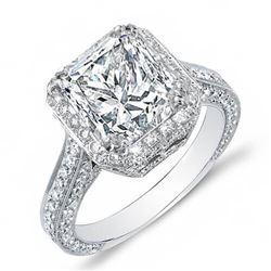 Natural 3.32 CTW Princess Cut Halo Pave Diamond Engagement Ring 14KT White Gold
