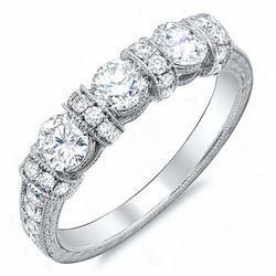 Natural 0.77 CTW Art Deco Round Cut Diamond Wedding Band 18KT White Gold