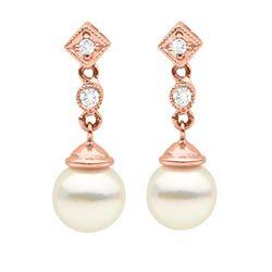 White Akoya Pearl and Diamond Royale Dangle Earrings