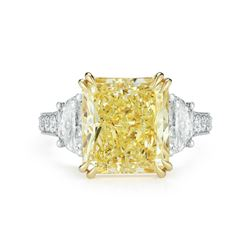 Natural 4.12 CTW Canary Yellow Rectangle Radiant Cut Diamond Engagement Ring 18KT Two-tone
