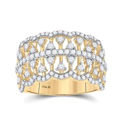 14kt Yellow Gold Womens Round Diamond Cocktail Fashion Ring 1 Cttw