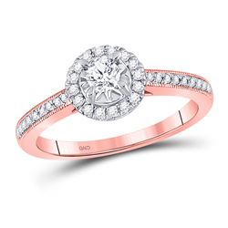14kt Rose Gold Round Diamond Solitaire Bridal Wedding Engagement Ring 3/8 Cttw