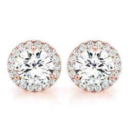 Natural 1.12 CTW Halo Round Brilliant Cut Diamond Stud Earrings 18KT Rose Gold