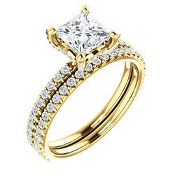 Natural 2.12 CTW Hidden Halo Princess Cut Diamond Ring 18KT Yellow Gold