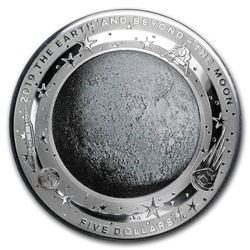 2019 Australia 1 oz Silver $5 Domed Earth and Beyond: The Moon